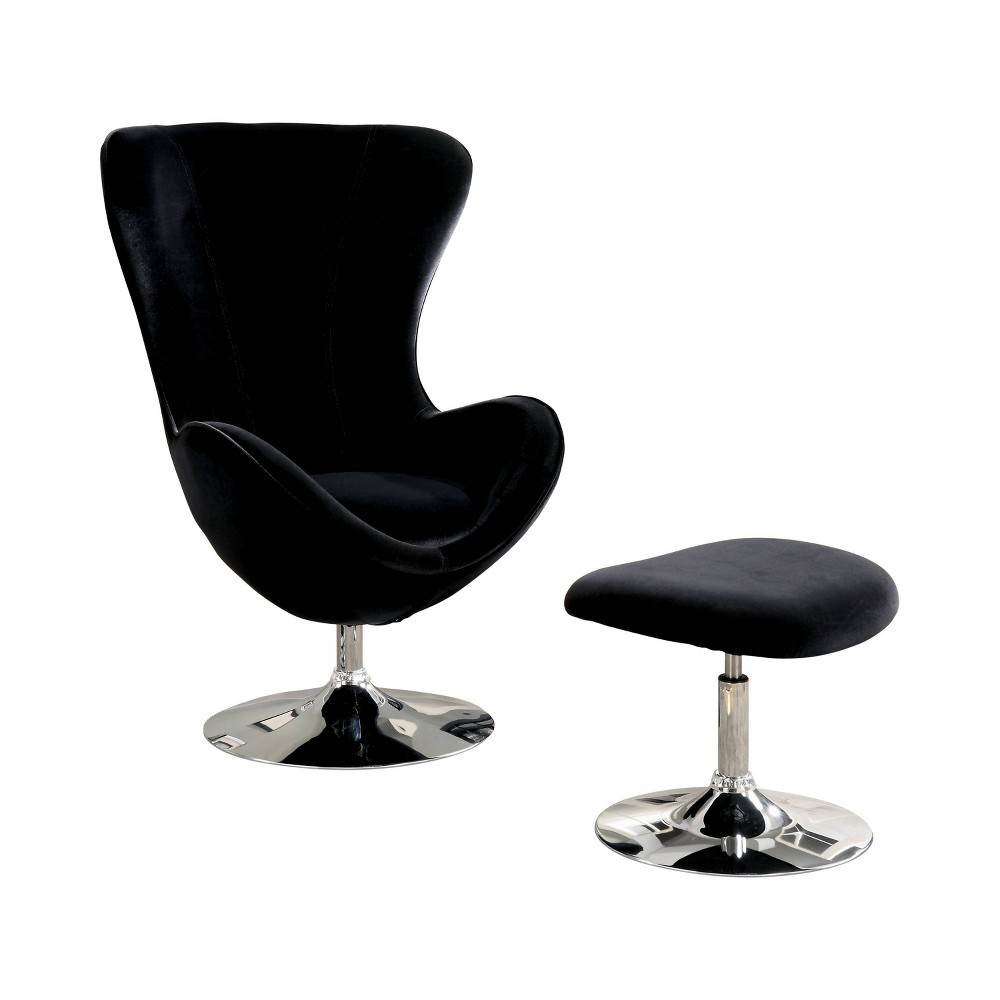 Ashford Contemporary High Back Chair with ottoman Black - Homes: Inside + Out