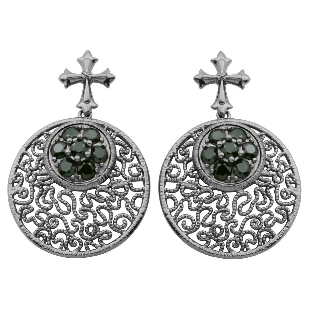 Gun Metal Colored Sterling Silver Genuine Black Spinel Celtic Cross Earrings, Girl's, Dark Silver