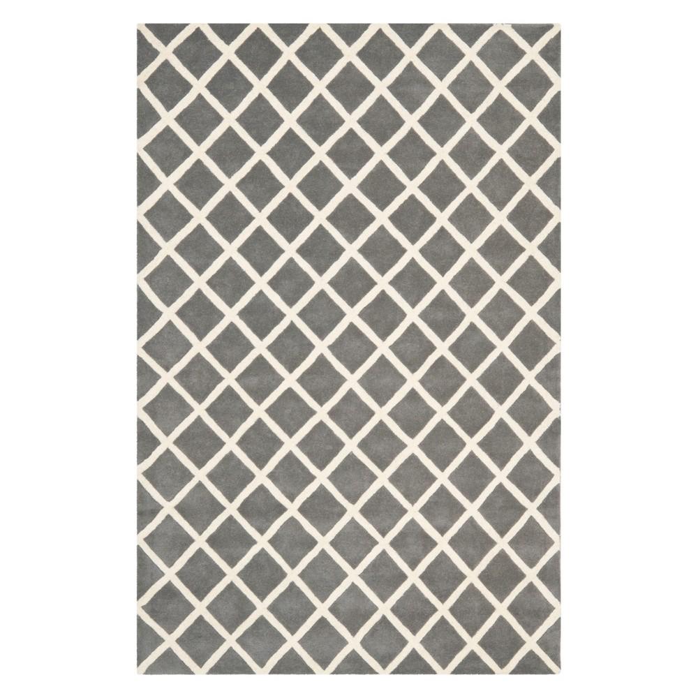 5 X8 Geometric Tufted Area Rug Dark Gray Ivory Safavieh