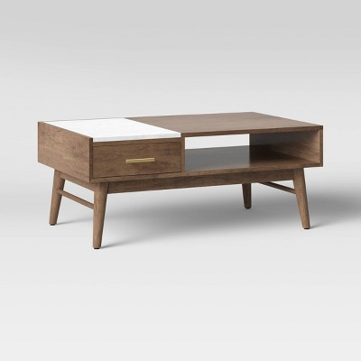 Mid-Century Wood/Marble Coffee Table Brown - Project 62™