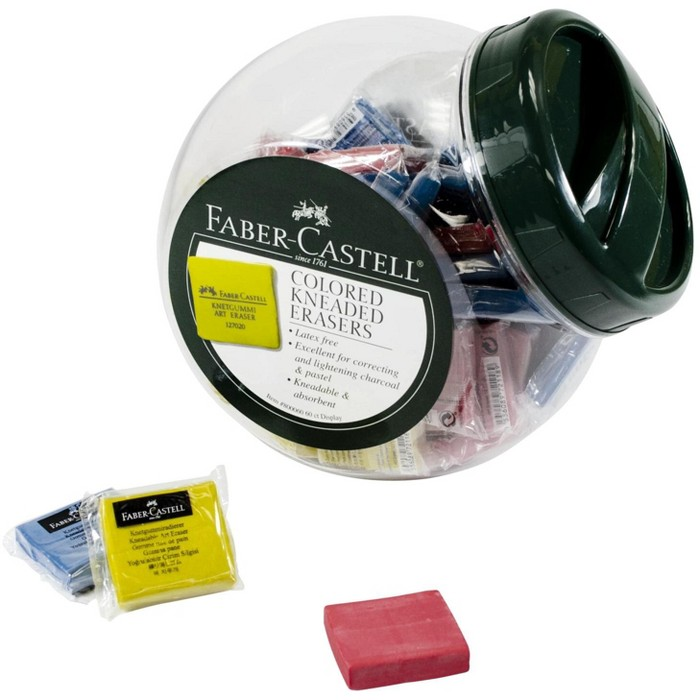 Faber-Castell Non-Toxic Soft Kneaded Eraser, 1-1/2 x 1-3/8 x 3/8 Inches, Assorted Color, pk of 60 - image 1 of 2