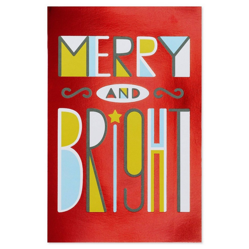 """Image of """"10ct """"""""Merry And Bright"""""""" Christmas Card With Foil"""""""