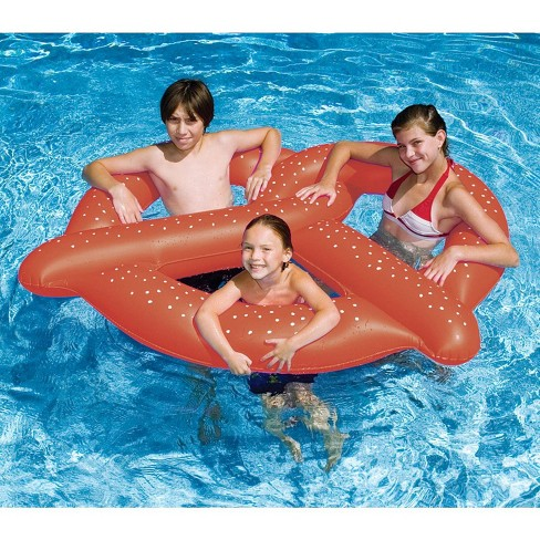 """Swim Central 60"""" Inflatable Giant Pretzel 3-Person Swimming Pool Float - Brown/White - image 1 of 1"""