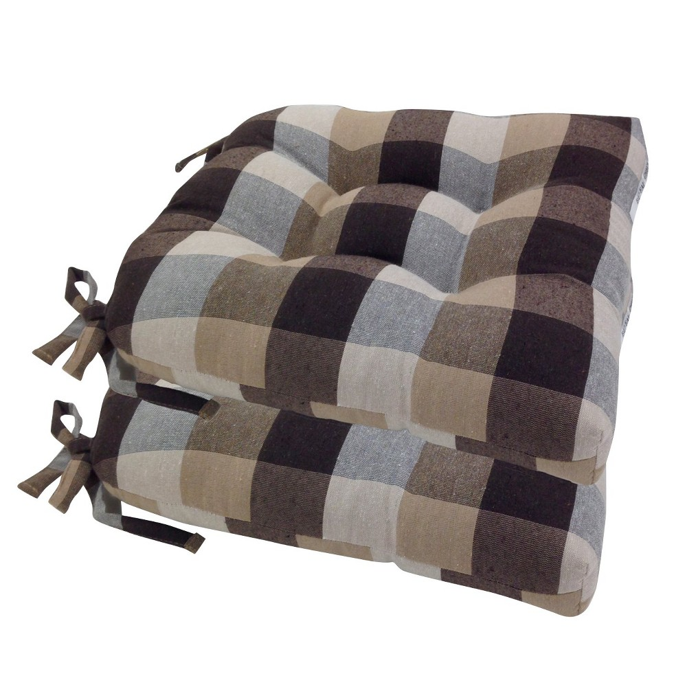 Image of Chocolate Buffalo Check Woven Plaid Chair Pads With Tiebacks (Set Of 4) - Essentials, Brown