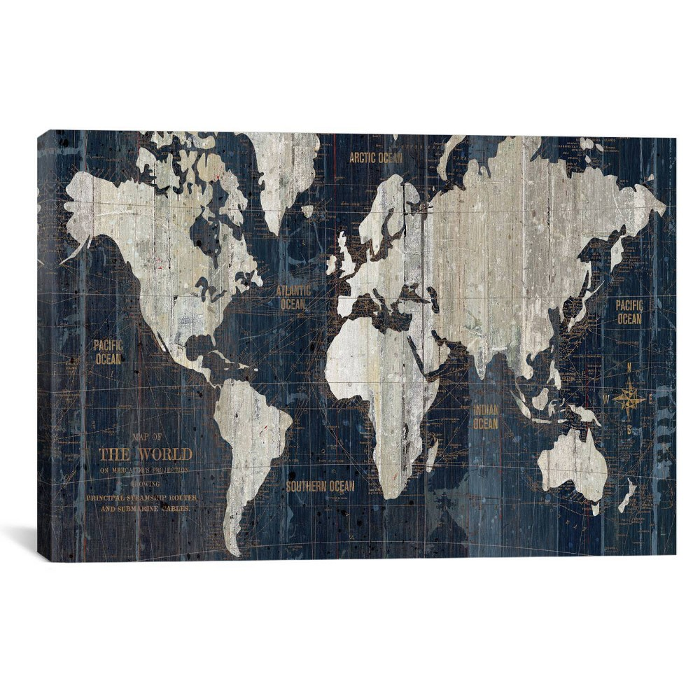Old World Map Blue by Wild Apple Portfolio Canvas Print 12 x 18 - iCanvas, Classic Navy