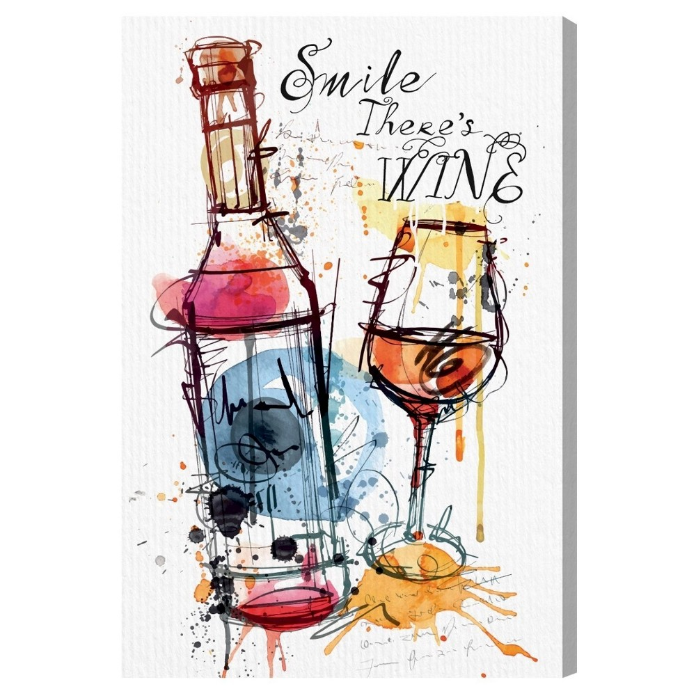 """Image of """"Oliver Gal Unframed Wall """"""""Smile Wine"""""""" Canvas Art (24x16), Multicolored"""""""