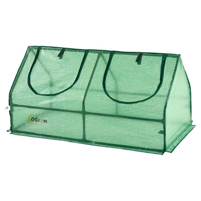 Compact Outdoor Seed Starter Greenhouse Cloche With Pe Protection Cover For Protected Gardening - Green - Ogrow
