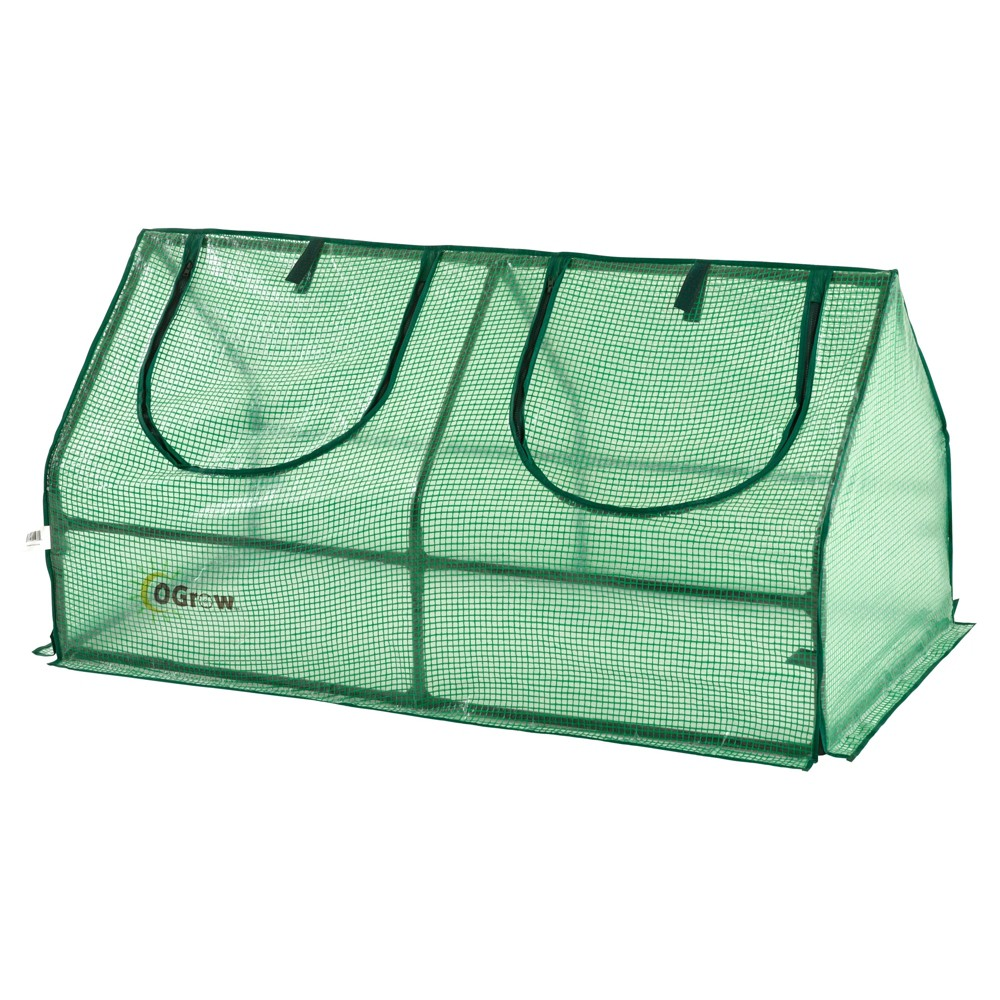 Image of Compact Outdoor Seed Starter Greenhouse Cloche With Pe Protection Cover For Protected Gardening - Green - Ogrow
