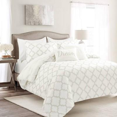 Full/Queen 7pc Ravello Pintuck Caroline Gro Comforter Set White - Lush Décor