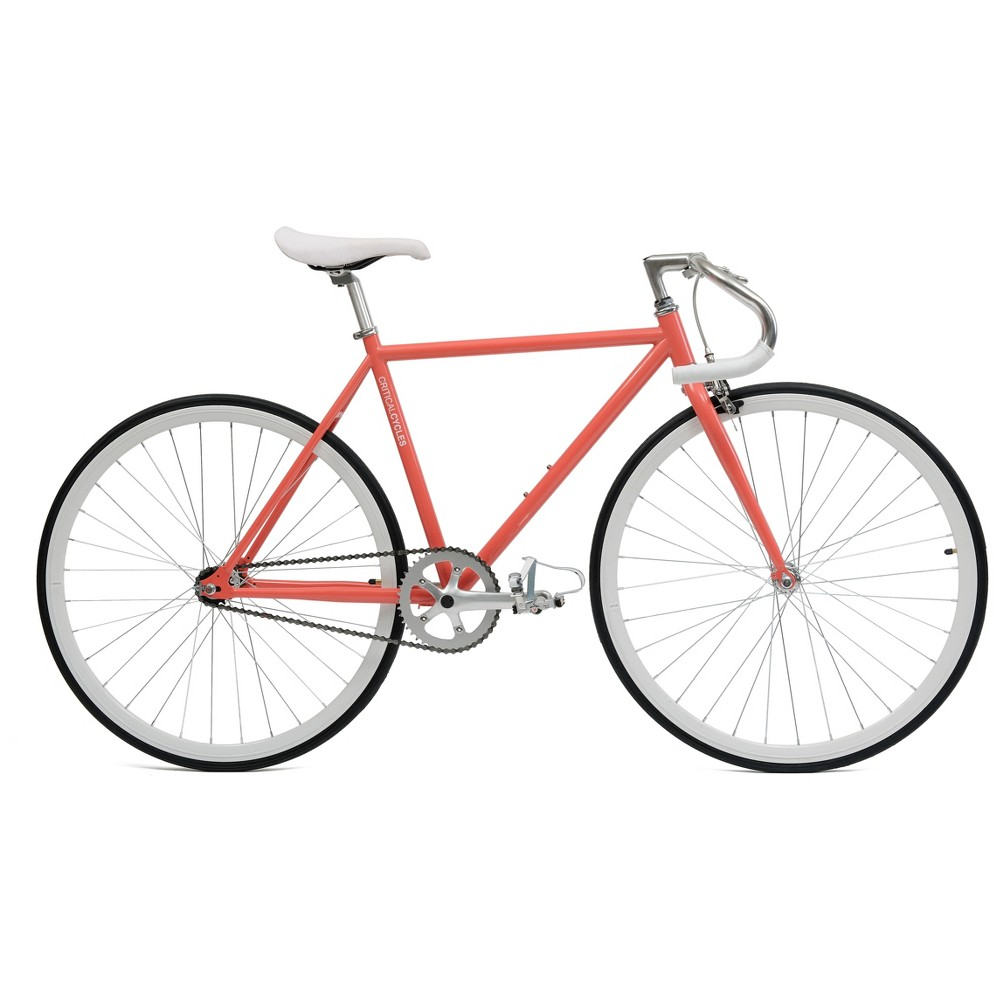 Critical Cycles Fixie 27 Fixed Gear Road Bike with Pista Bars - Coral (Pink)