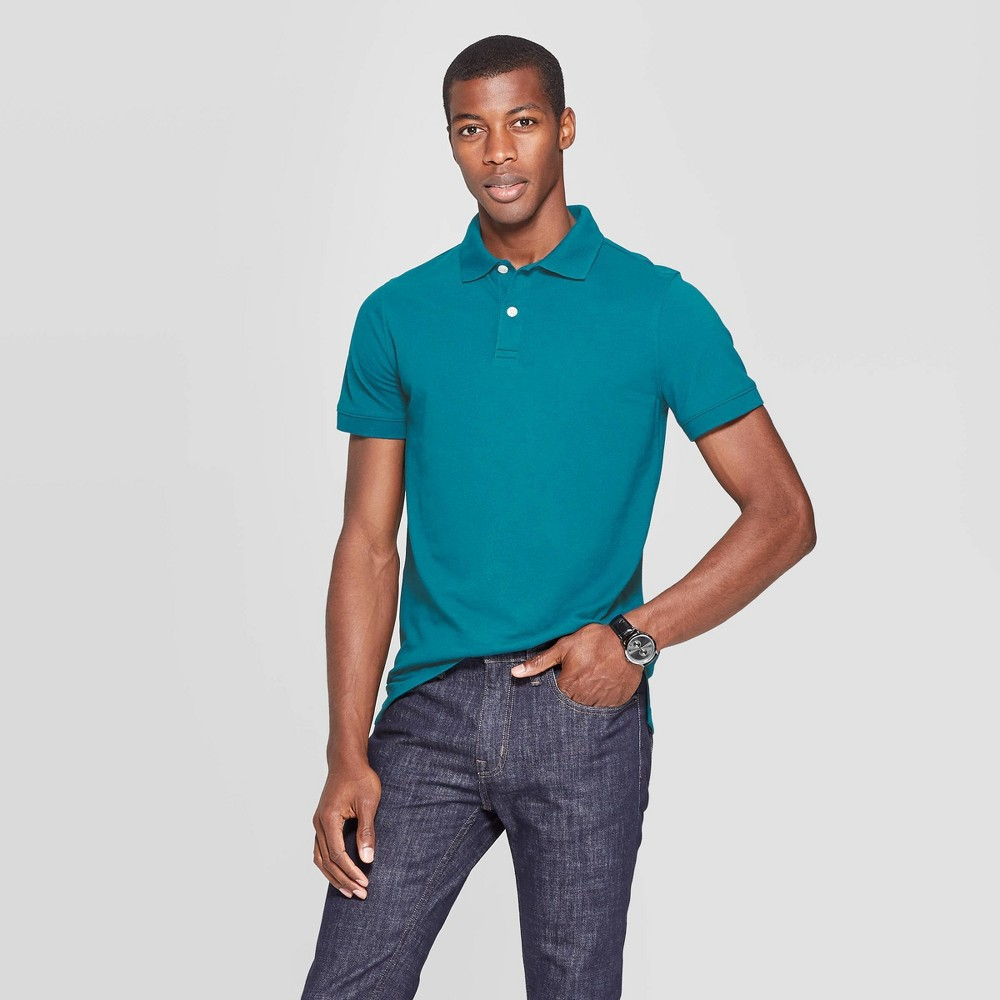 Men 39 S Slim Fit Short Sleeve Pique Loring Collared Polo Shirt Goodfellow 38 Co 8482 Coastal Wave M