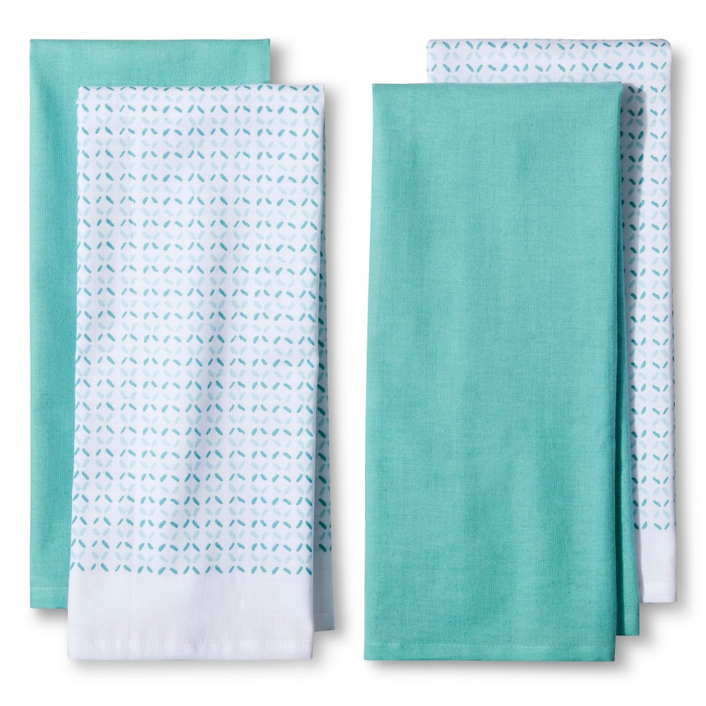 4pk Blue Shapes Kitchen Towel - Room Essentials