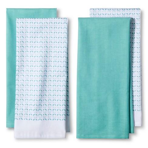 4pk Blue Shapes Kitchen Towel - Room Essentials™