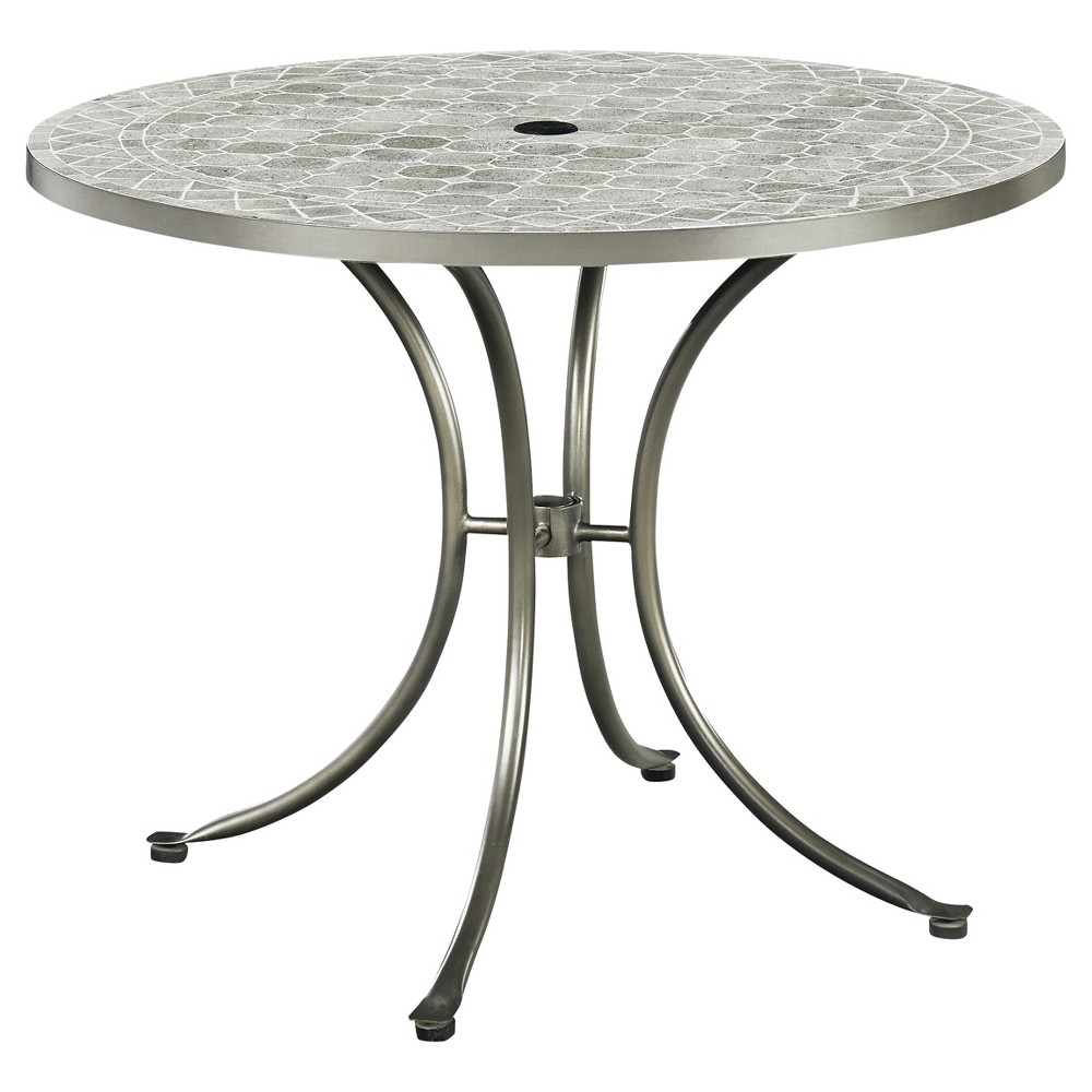 Umbria Concrete Tile Round Outdoor Table - Gray - Home Styles