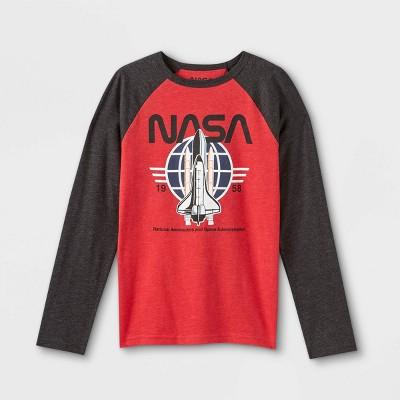 Kids' NASA Raglan Long Sleeve Graphic T-Shirt - Heathered Red
