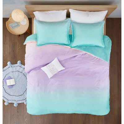 Dazzle Metallic Glitter Printed Reversible Duvet Cover Set Aqua