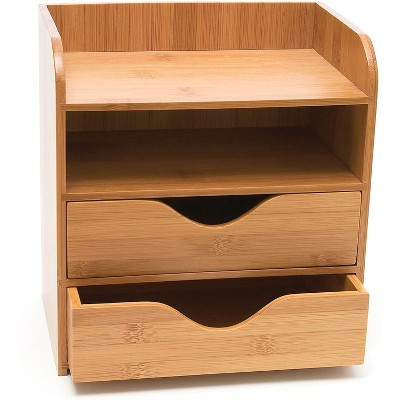 Lipper International 1804 Bamboo Wood 4-Tier Desk and Office Supply Organizer with Drawers and Paper Slots