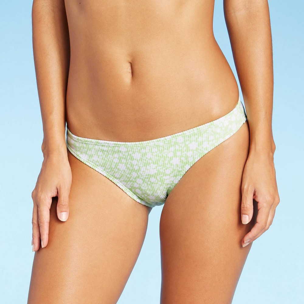 Juniors 39 Ribbed Cheeky Bikini Bottom Xhilaration 8482 Bright Green Floral Xl