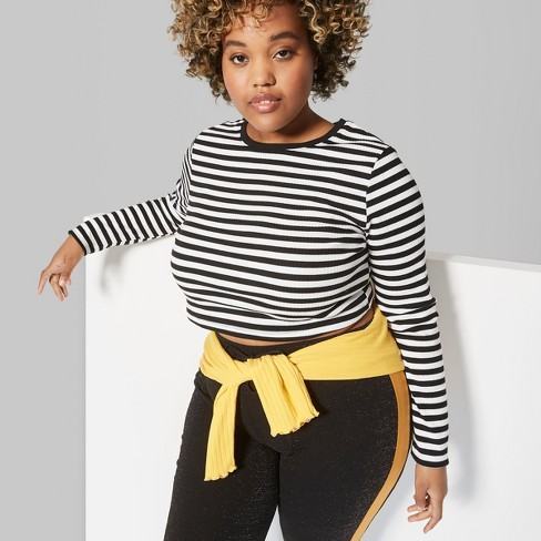 Women's Plus Size Long Sleeve Crew Neck Fitted T-Shirt - Wild Fable™ Black/White - image 1 of 3