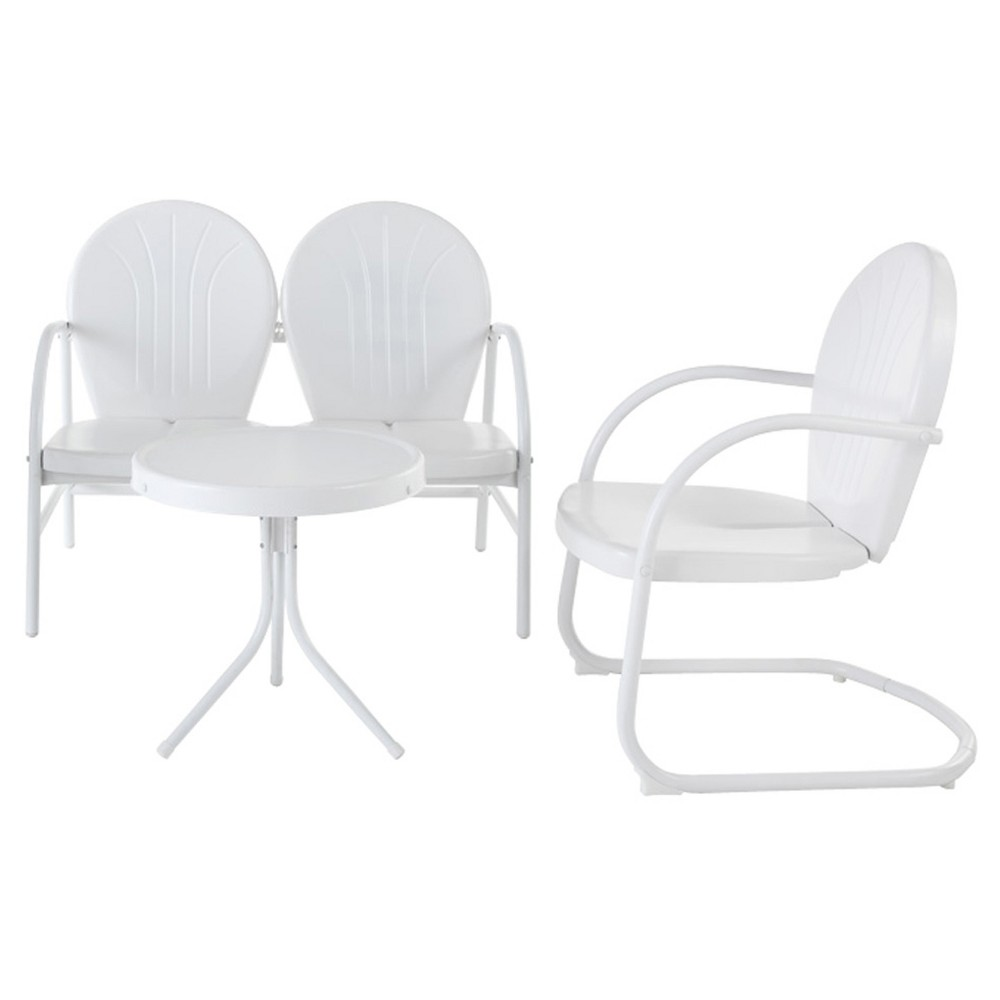Crosley Griffith 3 Piece Metal Outdoor Loveseat and Chair Seating Set with Side Table - White