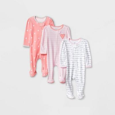 Baby Girls' 3pk Valentine's Day Sleep N' Play - Cloud Island™ Pink/Coral 0-3M