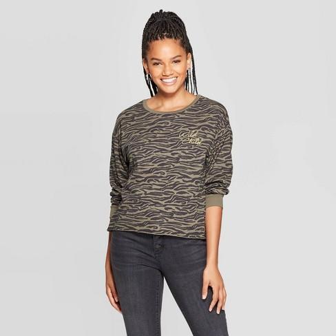 Women's Wild Child Zebra Long Sleeve Cropped T-Shirt - Grayson Threads (Juniors') - Olive - image 1 of 2