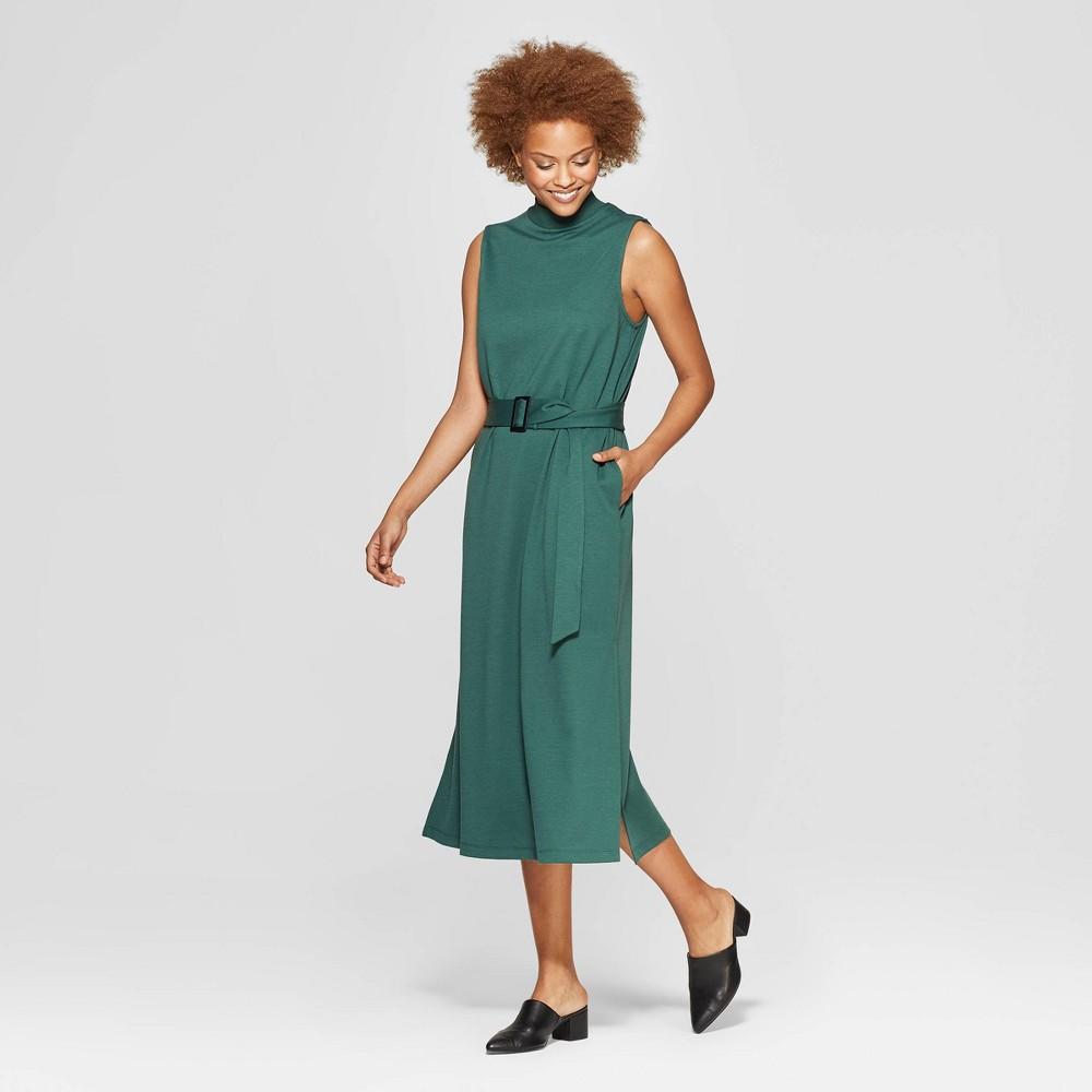 Women's Sleeveless Crewneck Midi Dress - Prologue Green L