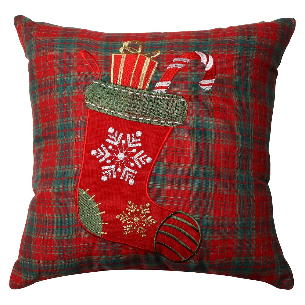 Pillow Perfect Christmas Stocking Plaid Throw Pillow - Red (16.5)