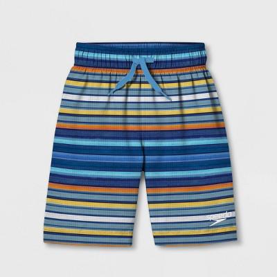 Speedo Boys' Cliff Side Striped Swim Trunks