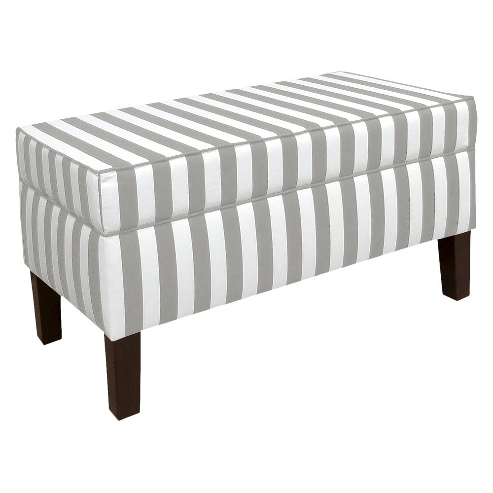 Skyline Custom Upholstered Contemporary Bench - Skyline Furniture, Canopy Stripe Storm/Twill