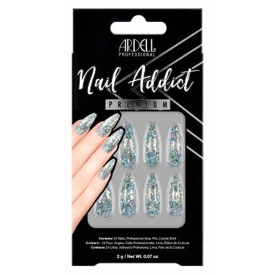 Ardell Nail Addict False Nails - Blue Jeweled Glitter - 24ct