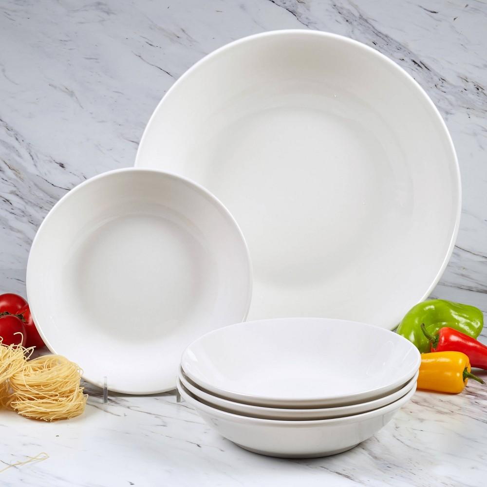 Image of 5pc Porcelain Bianca Pasta Serving Bowl Set White - Certified International