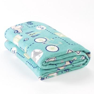 Lakeside Live Love Camp Throw Blanket - Large Plush Blanket for Sofas Vintage Print