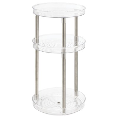 mDesign Spinning Tall 3-Tier Makeup Storage Center Tray