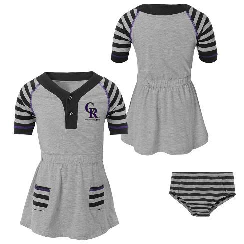 MLB Colorado Rockies Girls Striped Gray Infant/Toddler Dress - image 1 of 4