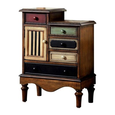 Vintage Style Accent Chest with 5 Drawers Antique Walnut - Benzara