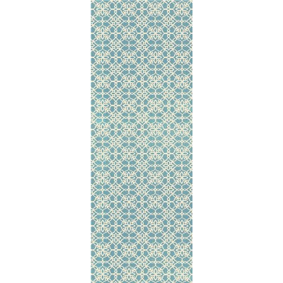 Aqua Floral Woven Runner 2'6 X7' - Ruggable