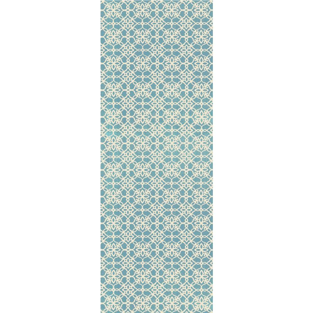 Aqua (Blue) Floral Woven Runner 2'6X7' - Ruggable