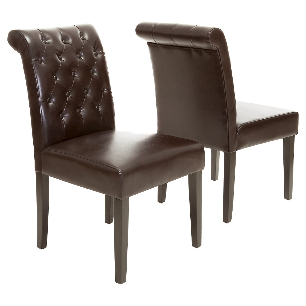 Set of 2 Palermo Tufted Dining Chair Brown - Christopher Knight Home was $292.99 now $190.44 (35.0% off)