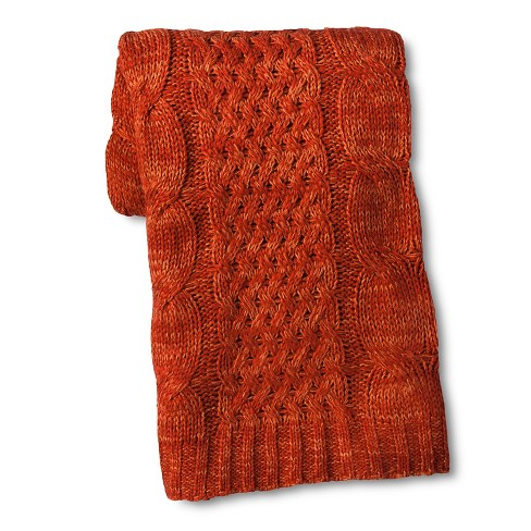Cable Knit Throw Orange - Threshold™ - image 1 of 1