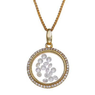 "Sterling Silver Round Locket with Floating Clear Cubic Zirconia Necklace in 14K Gold (18"")"