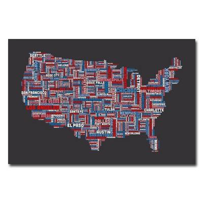22 X 32 Us Cities Text Map By Michael Tompsett Trademark Fine Art Target