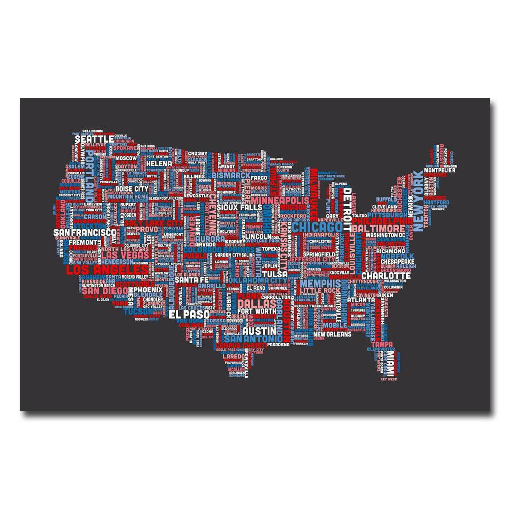 22 34 X 32 34 Us Cities Text Map By Michael Tompsett Trademark Fine Art