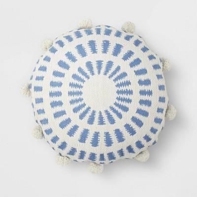 Round Pom Throw Pillow Blue/White - Opalhouse™