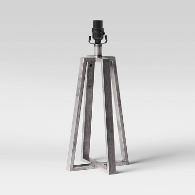 Brushed Linear Large Lamp Base Silver - Threshold™
