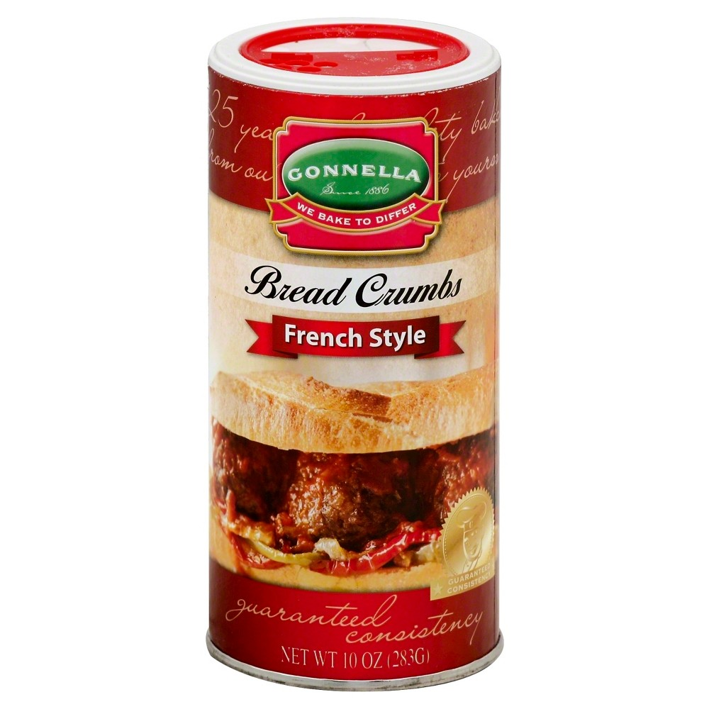 Gonnella Bread Crumbs French Style 10 oz Gonnella French Style bread crumbs deliver a level of quality and consistency no other bread crumb can approach. There are no added sugars, just old-fashioned, hearth baked goodness that enhances the flavor and quality of any dish.