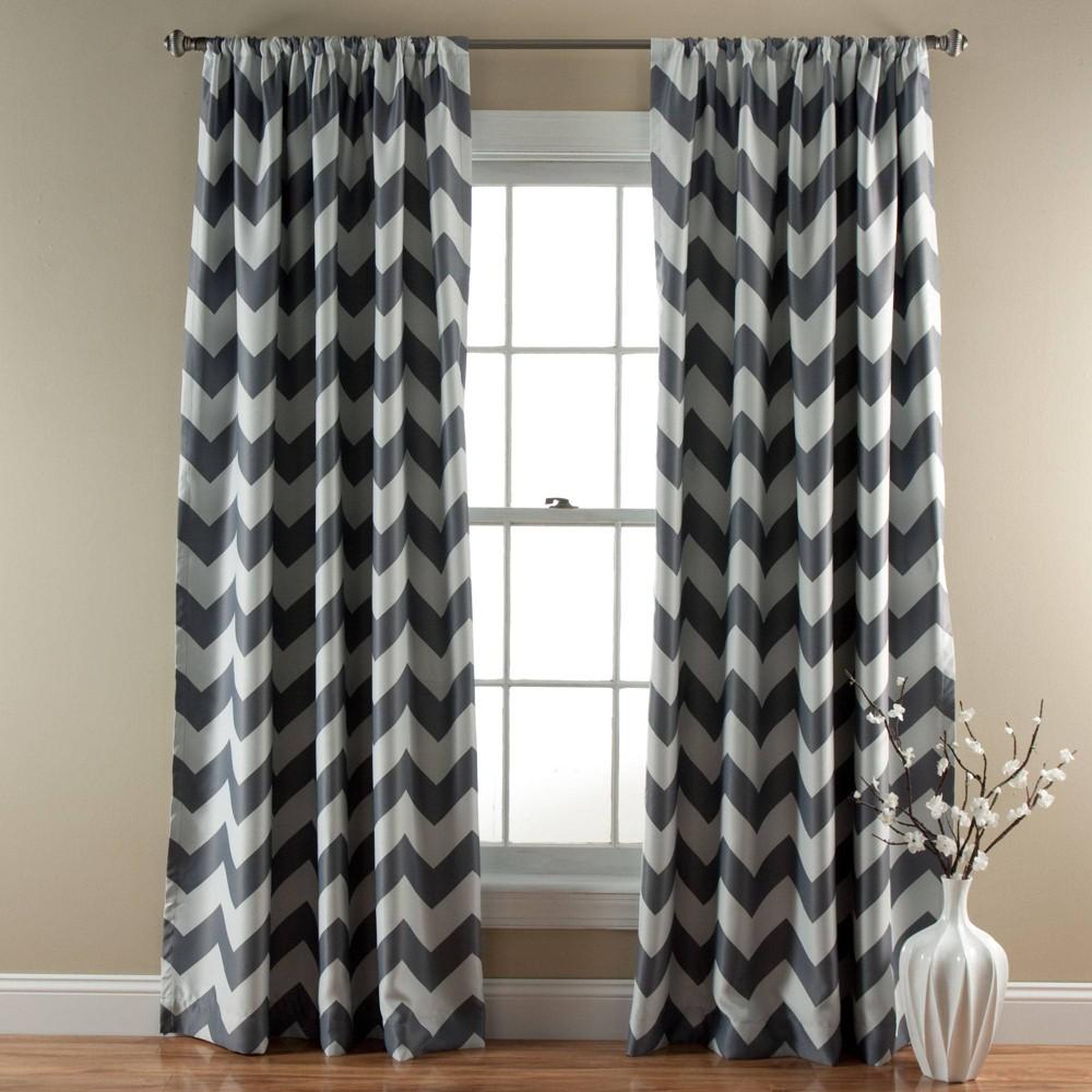 Chevron Blackout Curtain Panels Gray - Triangle Home Fashions