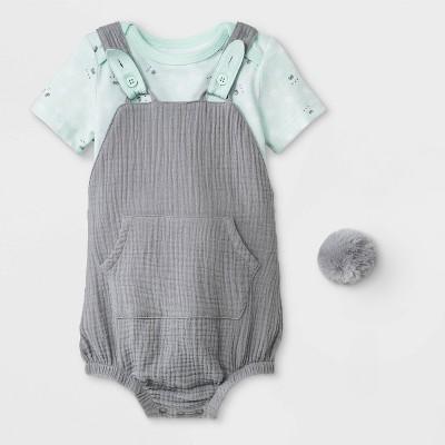 Baby Boys' Bunny Bodysuit/Short Romper Set - Cat & Jack™ Green/Gray Newborn