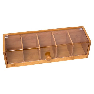 Lipper Bamboo & Acrylic 5-Section Tea Box