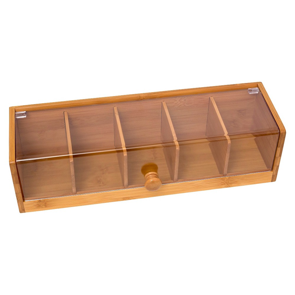 Image of Lipper Bamboo & Acrylic 5-Section Tea Box, Brown